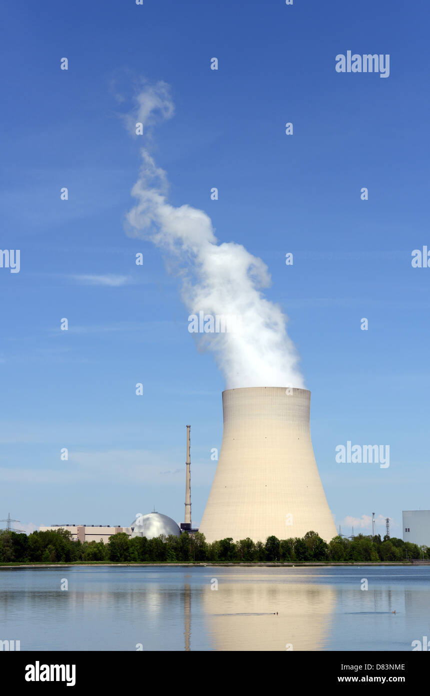 The nuclear reactor Isar near Landshut belongs to the E.ON-company - Stock Image