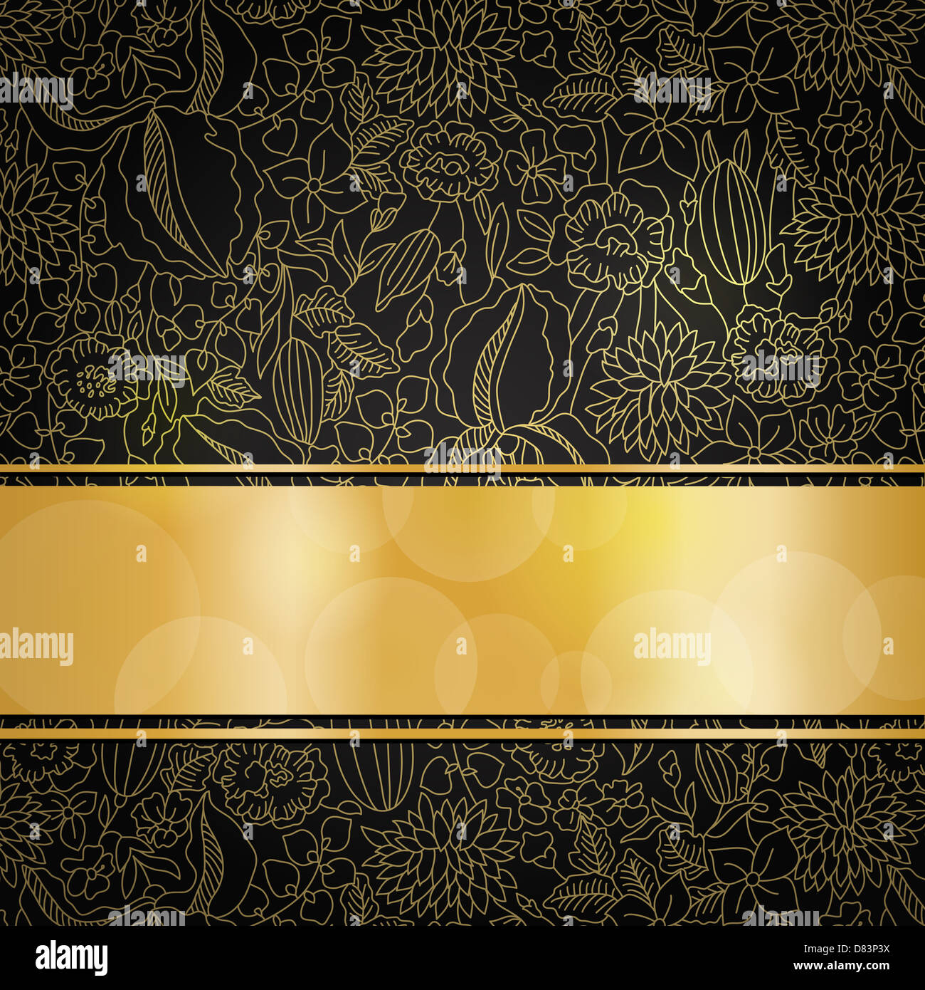 gold floral pattern on black background with golden ribbon and place