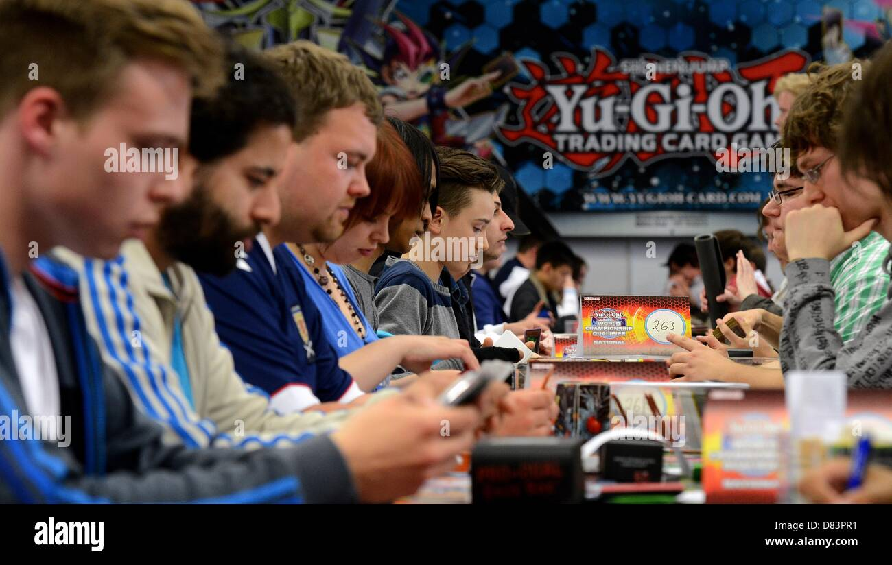 Participants of the German Yu-Gi-Oh! Trading Card Game Championships play against each other in Schkeuditz, Germany, Stock Photo