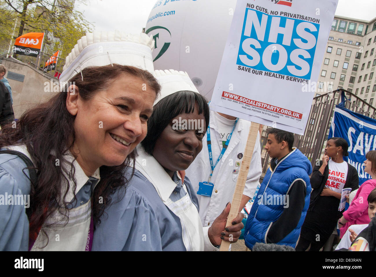 London, UK. 18th May 2013. London. Protesters prepare to march against government cuts to services at some London - Stock Image