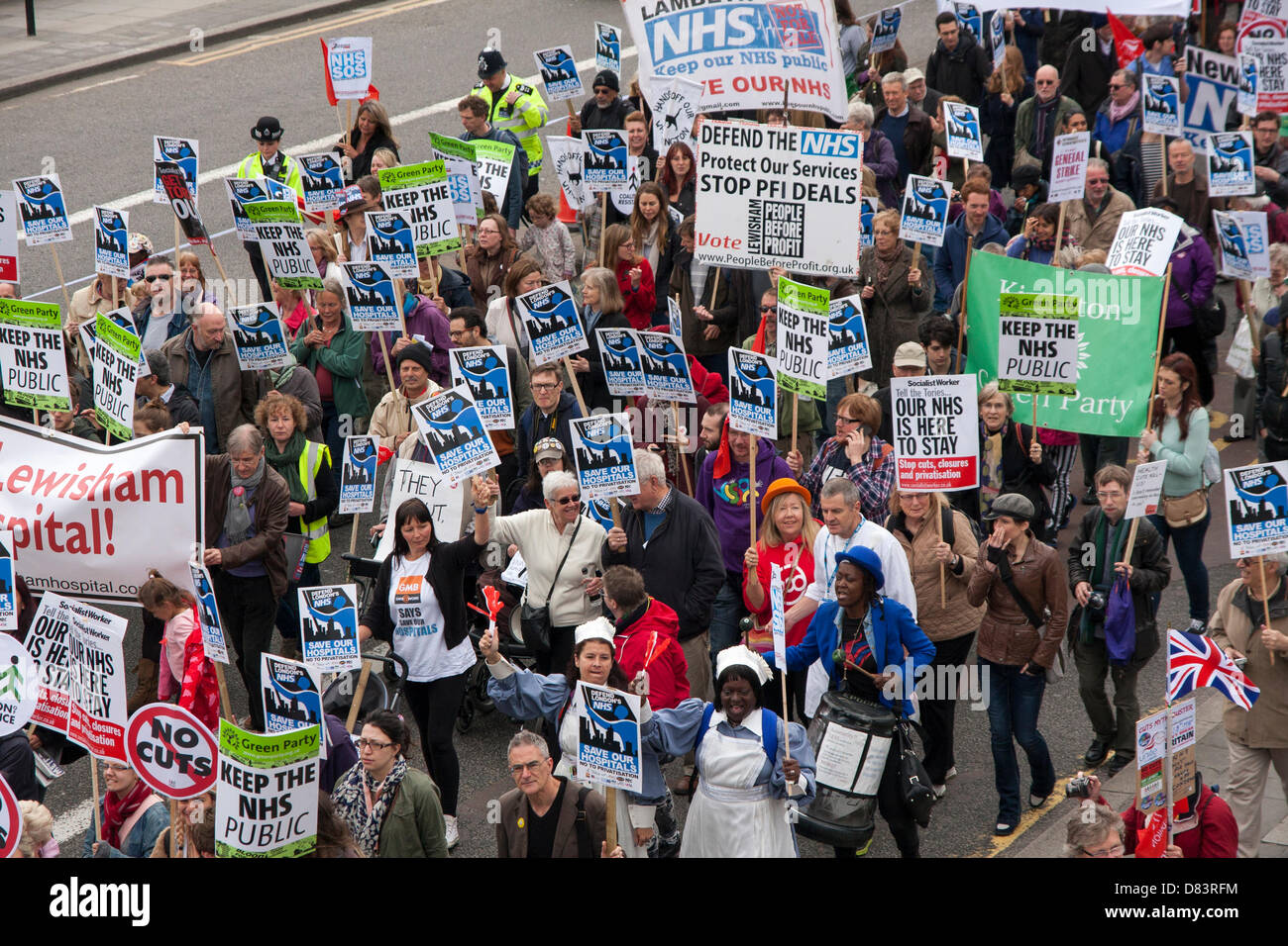 London, UK. 18th May 2013. London Londoners protest against privatisation of medical services and cuts to the NHS. - Stock Image
