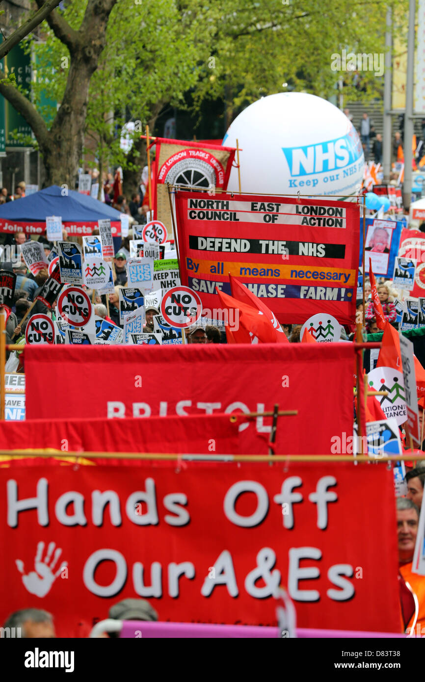 London, UK. 18th May 2013. Protestors supporting the National Health Service against cuts at the defend London's - Stock Image