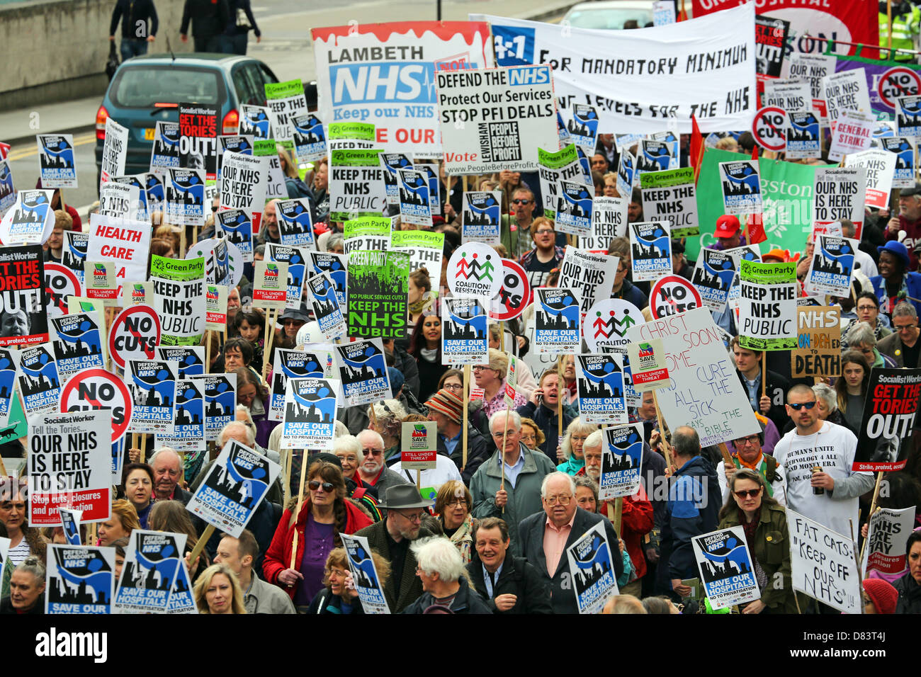 London, UK. 18th May 2013. Protestors on Waterloo Bridge supporting the National Health Service against cuts at - Stock Image