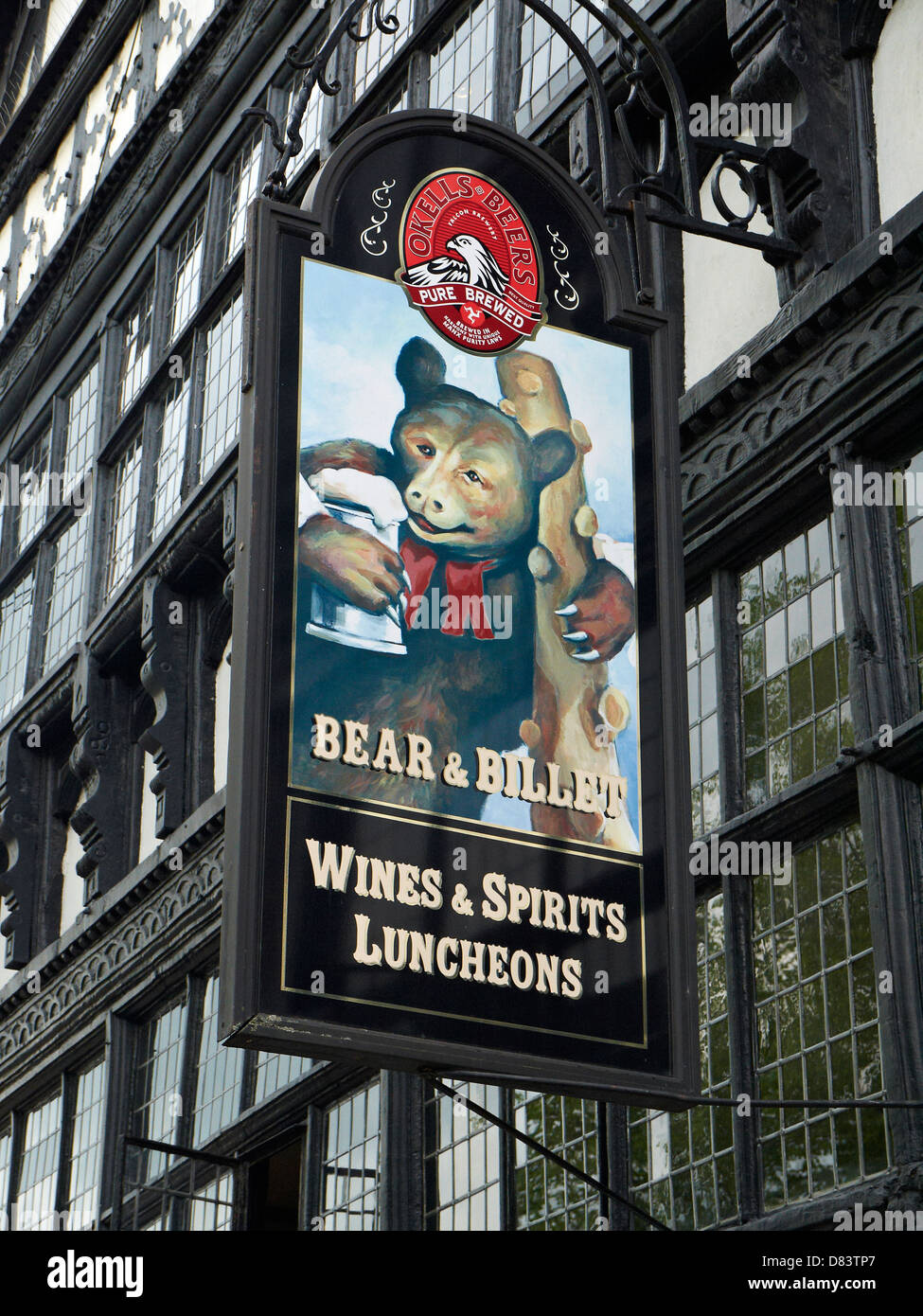 Bear & Billet pub sign in Chester Cheshire UK - Stock Image