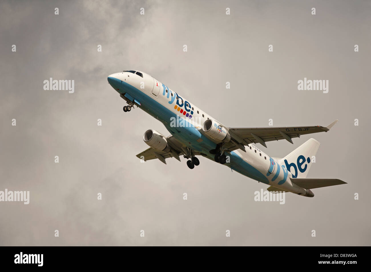Twin engined Embraer ERJ-190-2000-195LR Flybe Civil Airliner departing Inverness  Airport Highland Scotland  SCO Stock Photo