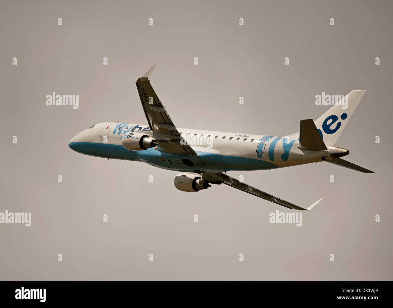 Twin engined Embraer ERJ-190-2000-195LR Flybe Civil Airliner departing Inverness  Airport Highland Scotland  SCO - Stock Image