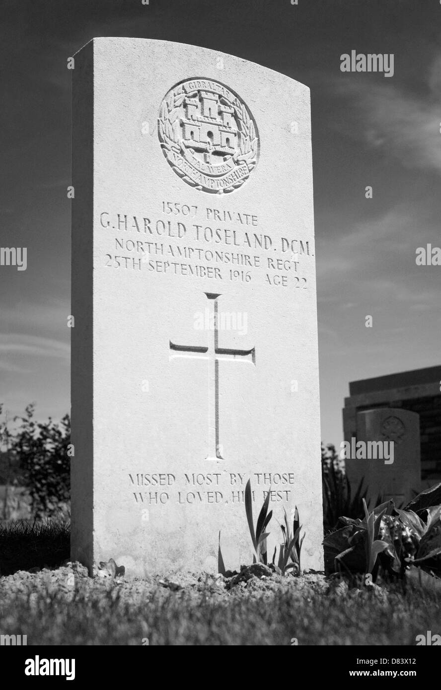 Headstone of Private George H Toseland DCM. Died aged 22 September 1916. PEAKE WOOD BRITISH CEMETERY, FRICOURT, - Stock Image