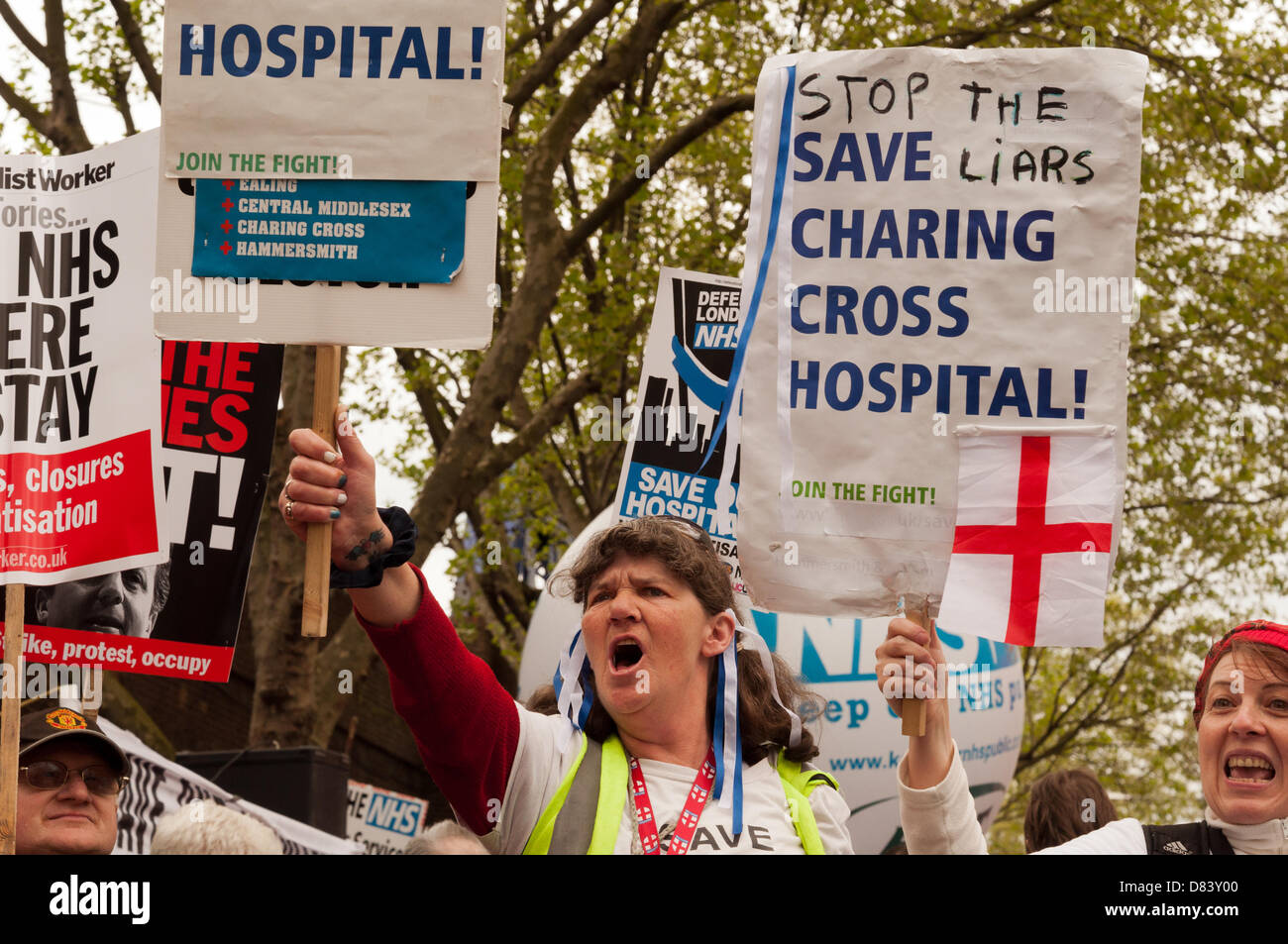 London, UK. 18th May 2013. London residents, medical staff, unions and health campaigners protest against closures - Stock Image