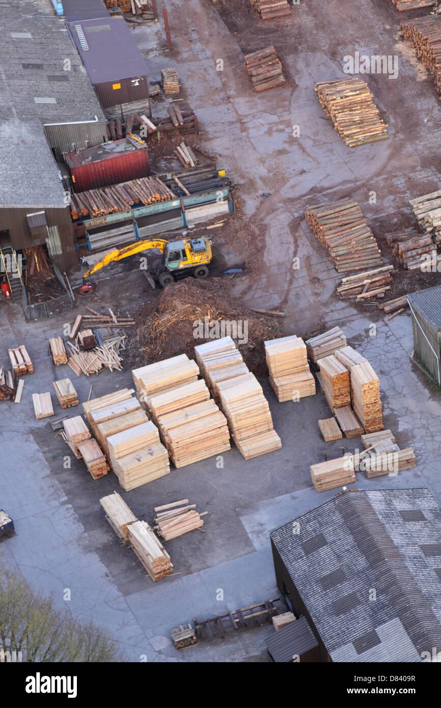 Timber yard mill aerial view logs planks stacks Somerset UK - Stock Image