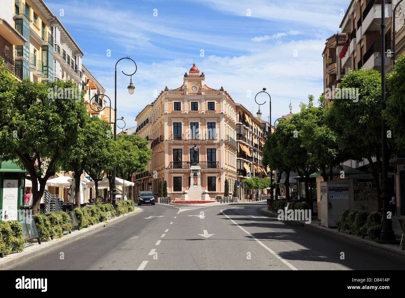 Street in Andalusian town Antequera, Spain - Stock Image
