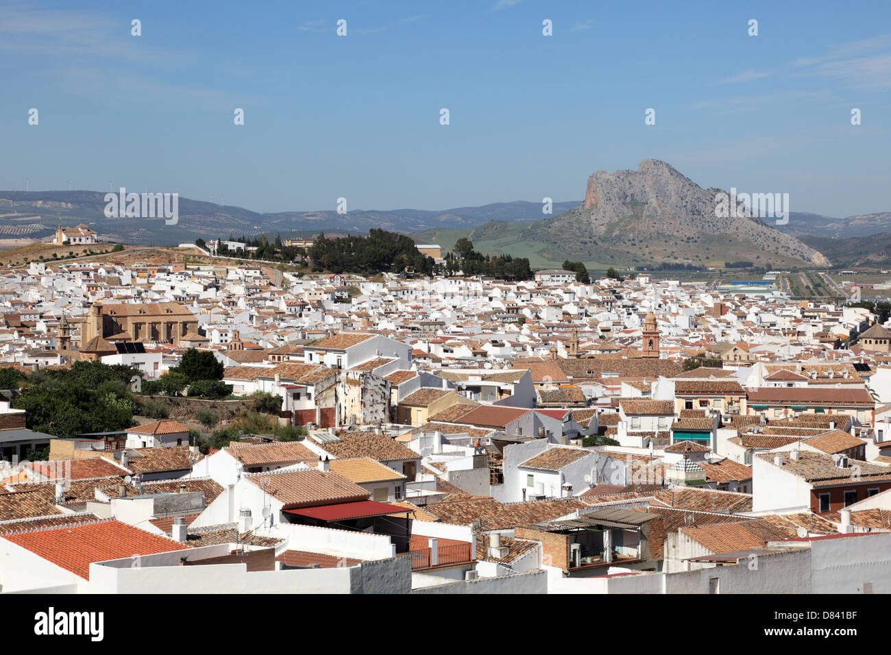 View over the town Antequera, Andalusia Spain - Stock Image