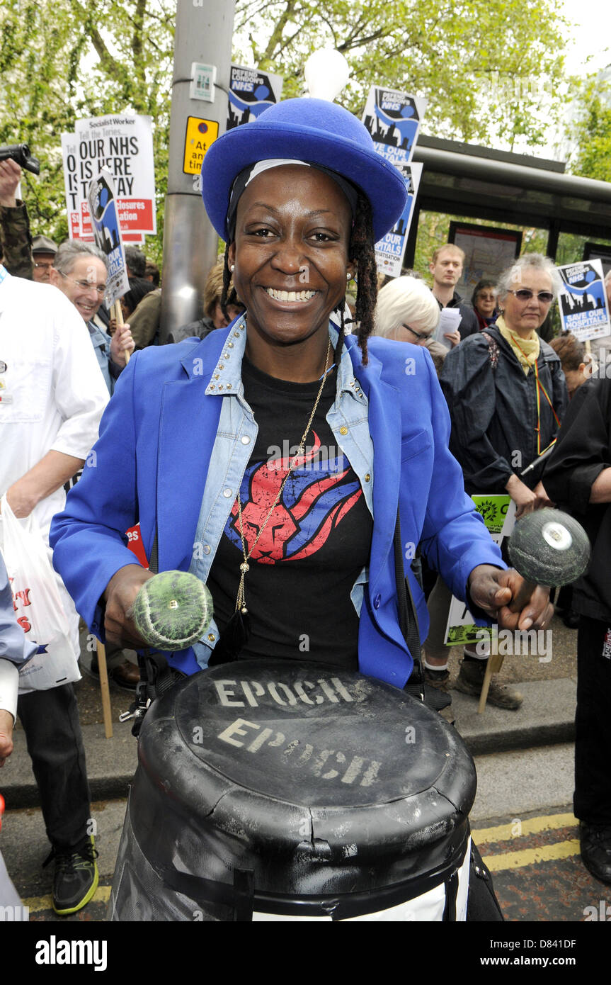 London, UK. 18th May 2013. Demonstration against privatisation of the National Health Service.Various groups including - Stock Image
