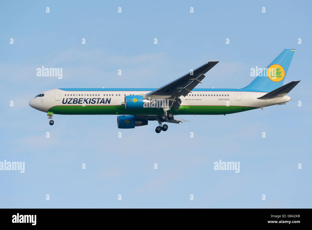 Uzbekistan Airways new Boeing 767-300 on final approach after being flown from manufacture - Stock Image