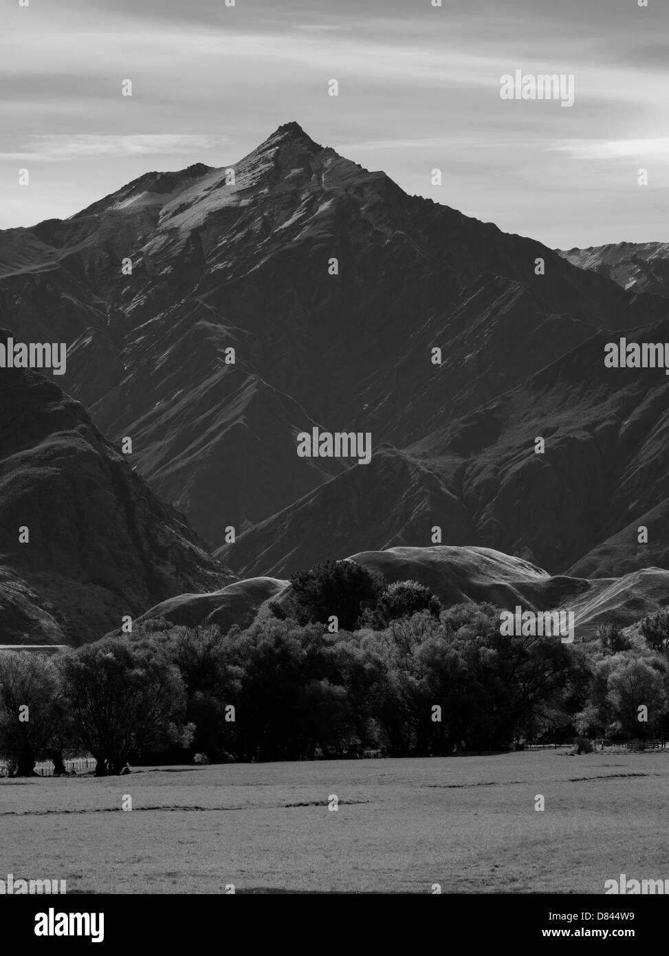 Looking north, a valley view of The Branches with Mount Greenland in the background, near Queenstown, Otago, New - Stock Image