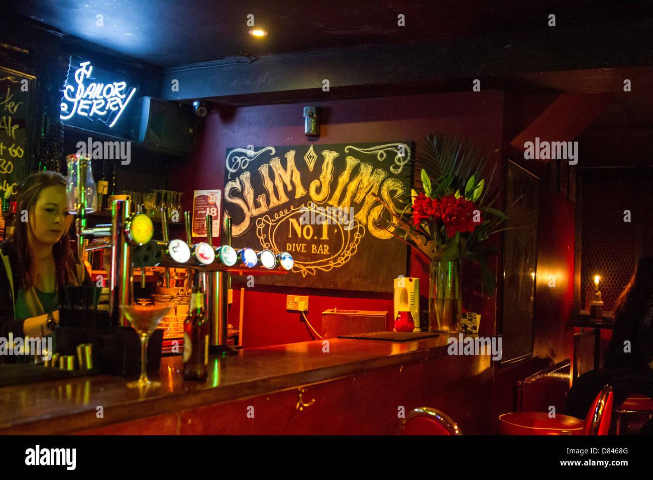 Slim Jims bar in Angel - Stock Image
