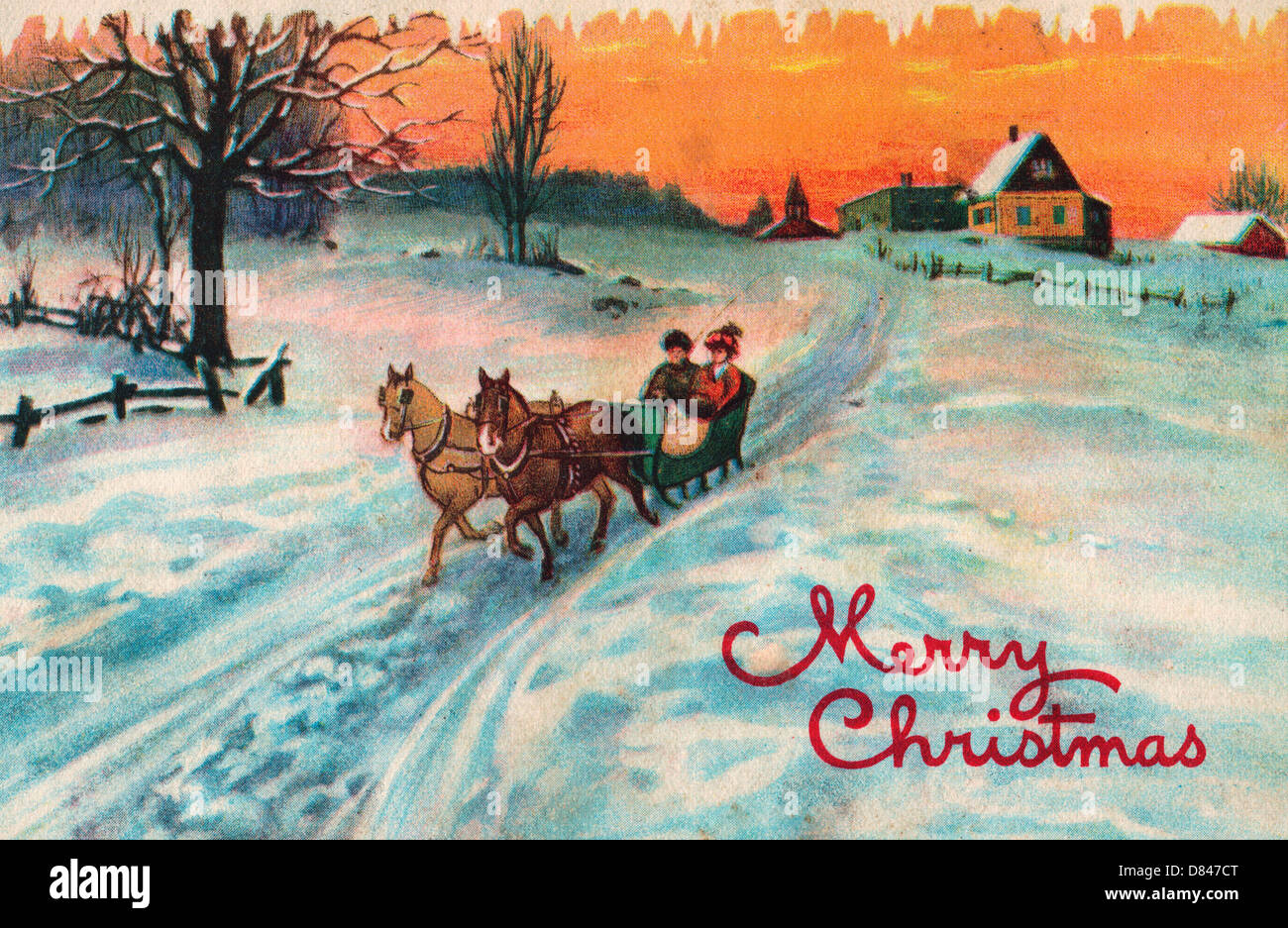 merry christmas vintage card with couple in horse drawn sleigh