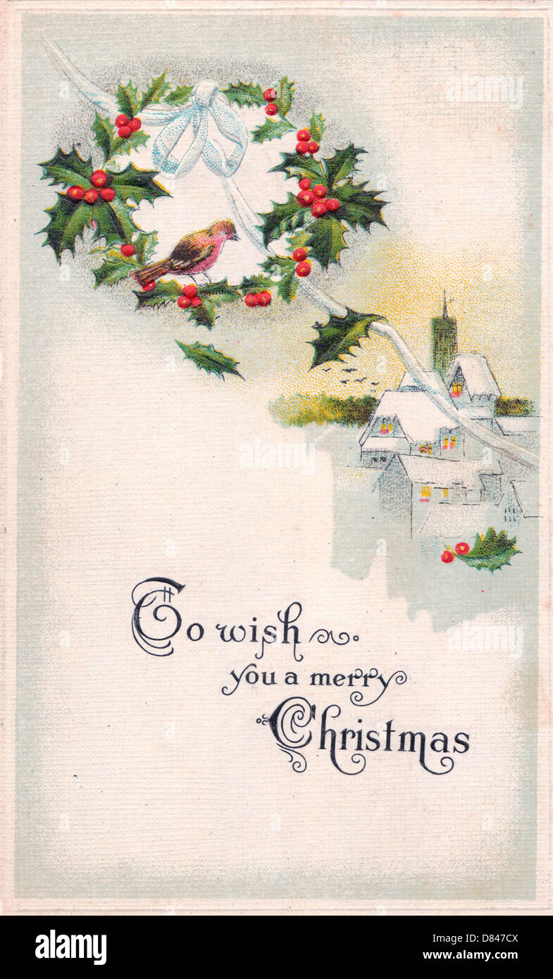 Vintage Merry Christmas.To Wish You A Merry Christmas Vintage Christmas Card Stock
