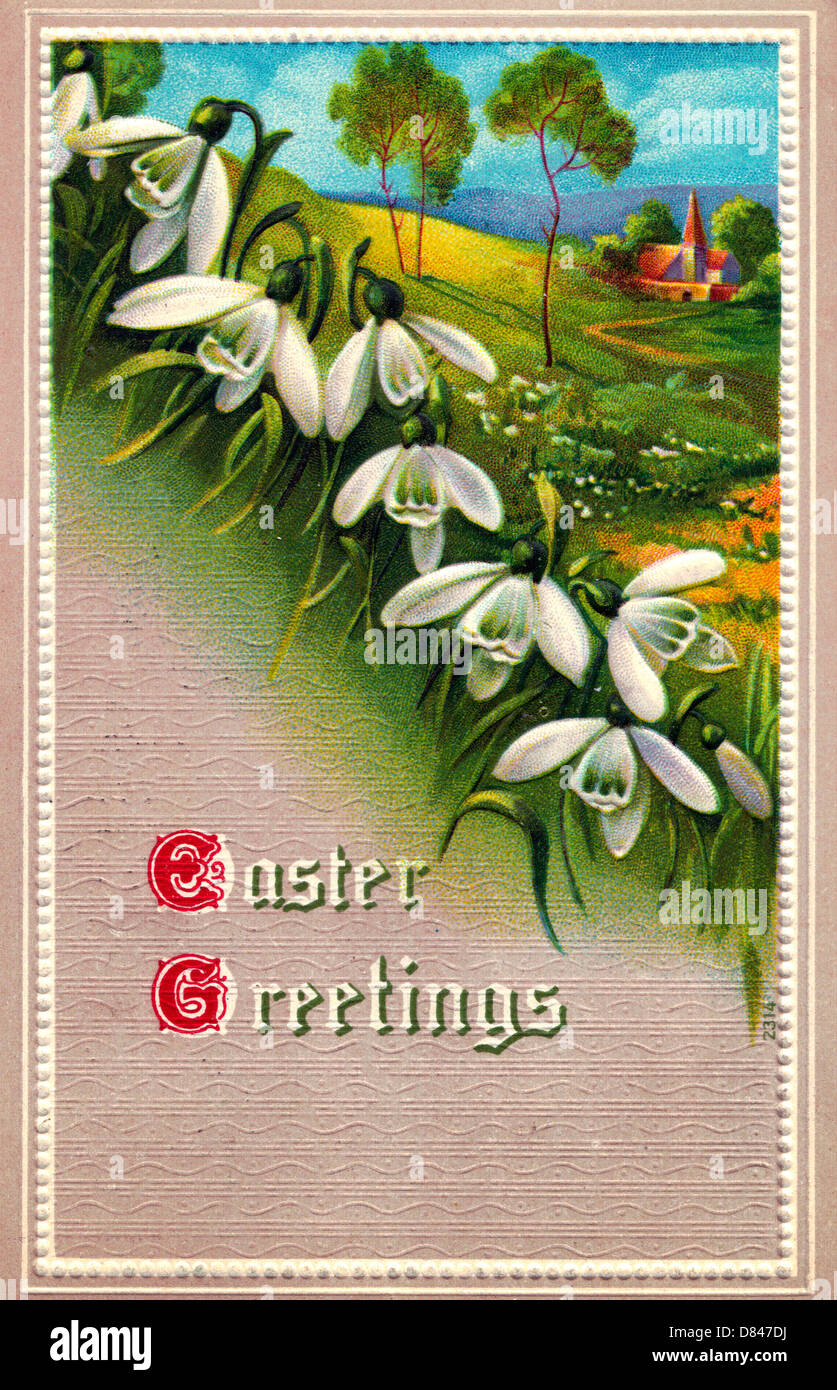 Greeting greetings stock photos greeting greetings stock images easter greetings vintage easter card with lilies and church in the background stock image m4hsunfo
