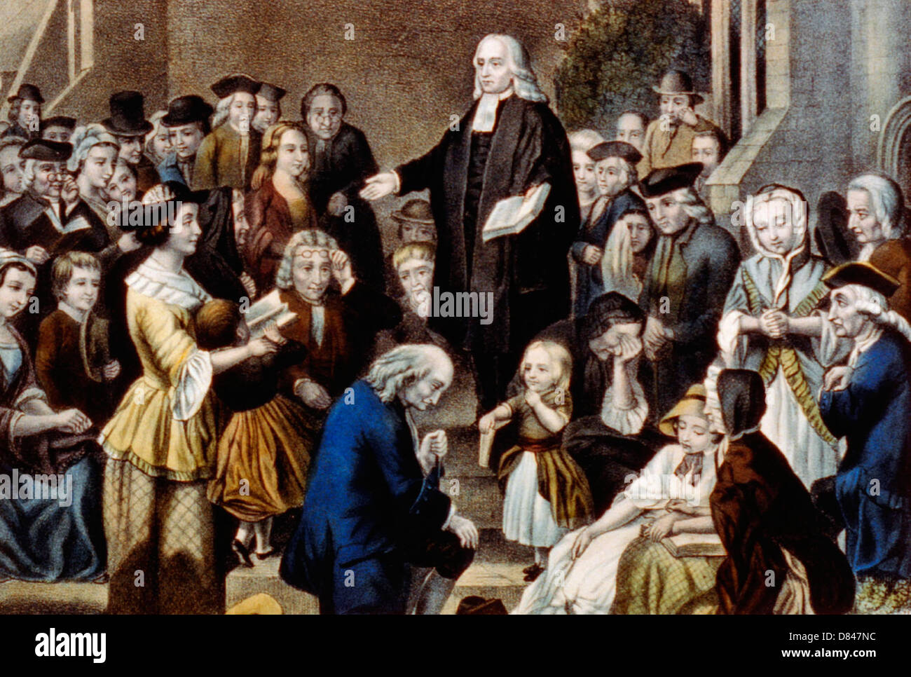 John Wesley preaching on his fathers grave: in the church yard at Epworth Sunday June 6th 1742 Stock Photo