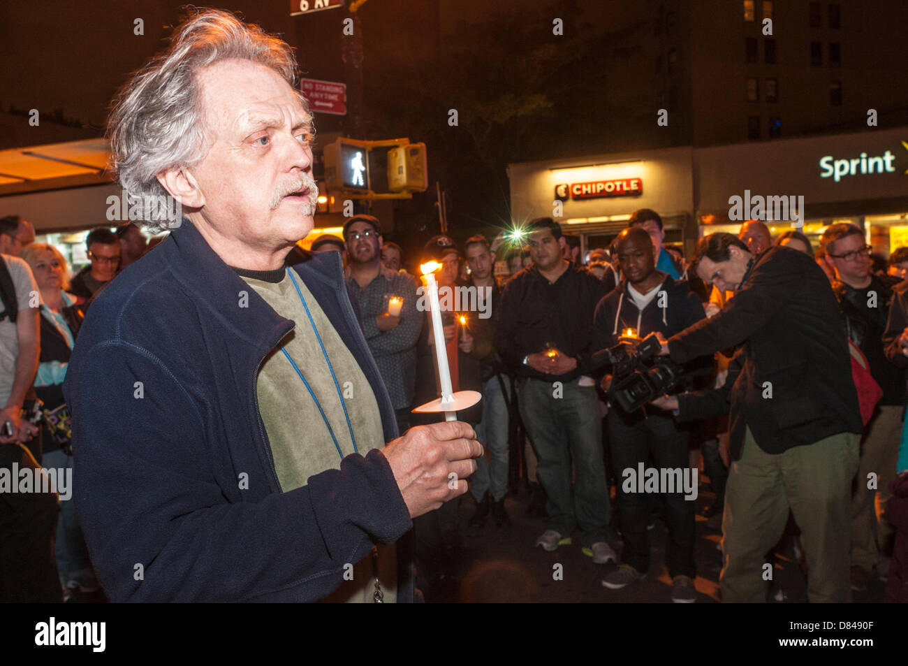 New York, NY. 19th May, 2013. Candlelight Vigil for 32 year old Mark Carson, a gay man who was shot by Eliott Morales, - Stock Image