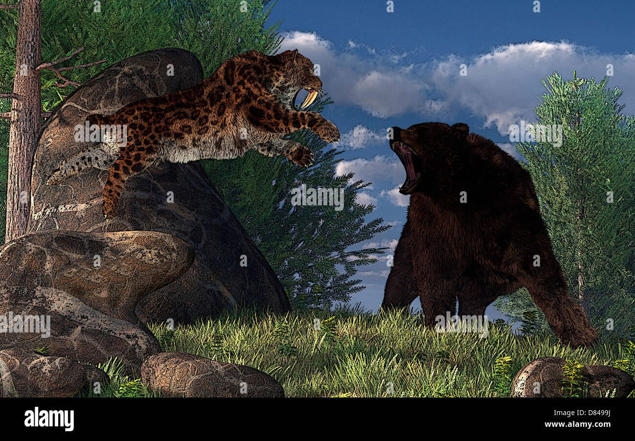 A saber-toothed cat leaps at a grizzly bear on a mountain path. - Stock Image