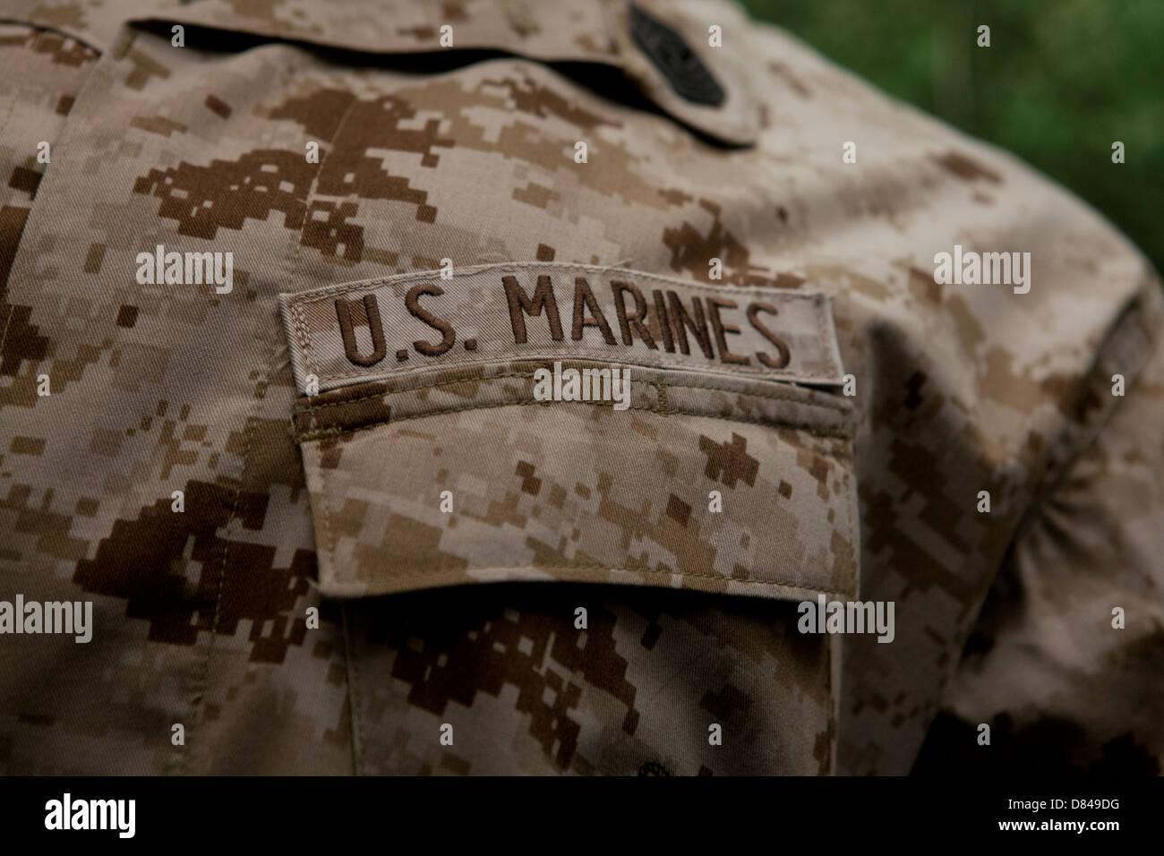 US Marine Corps tape on combat utility uniform - Stock Image