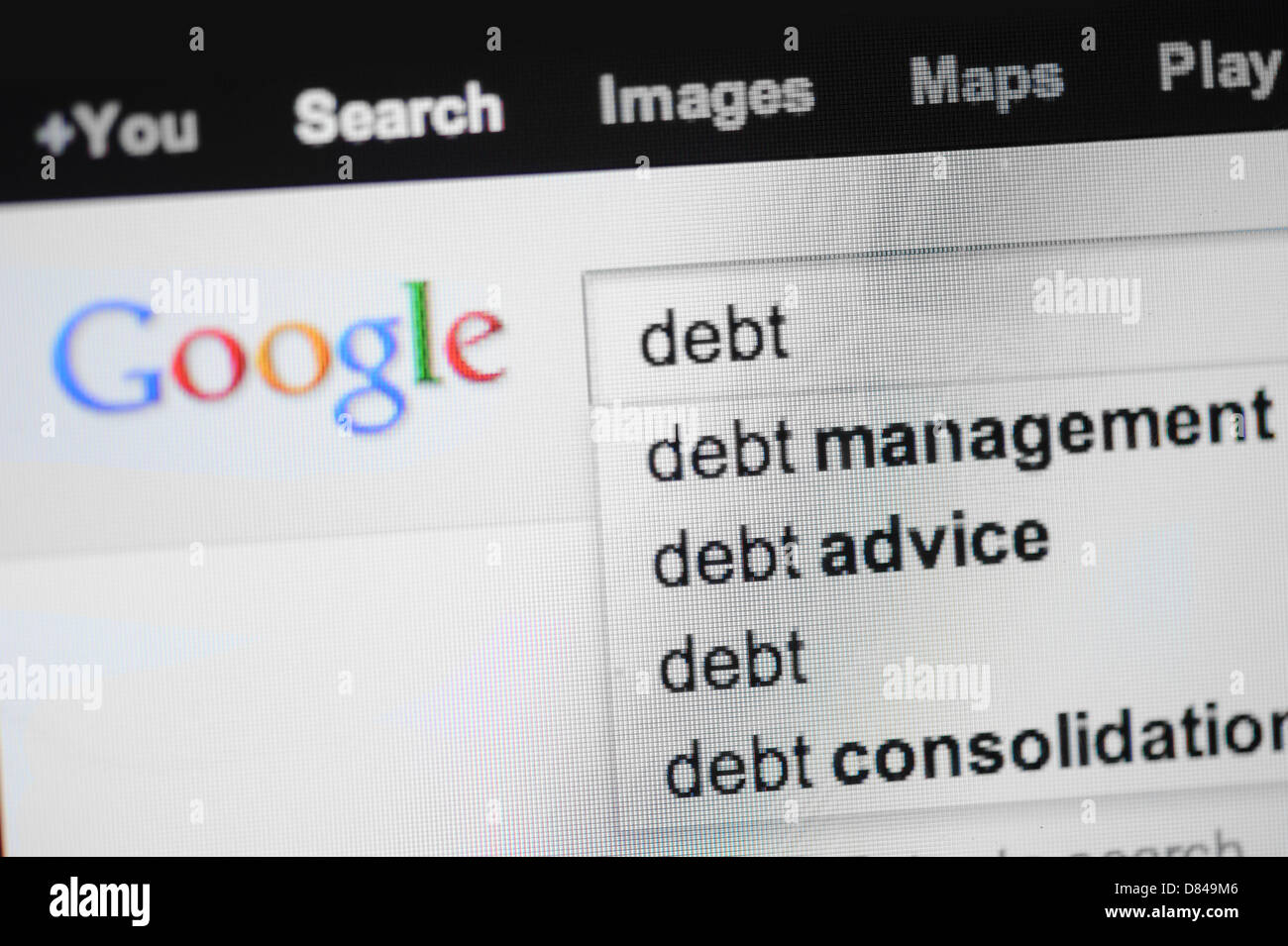 Debt search on Google. - Stock Image