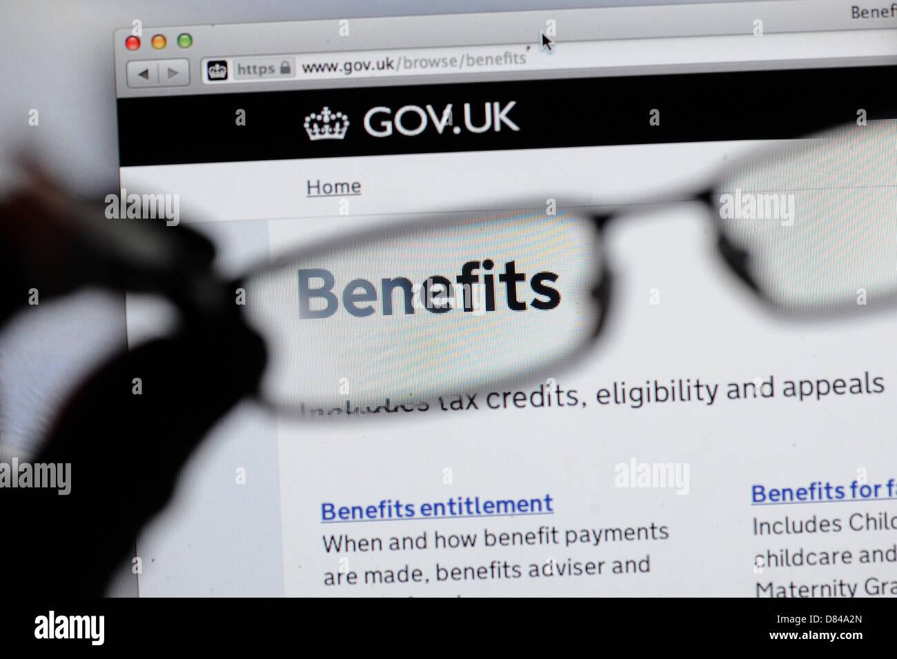 UK benefits website gov.uk - Stock Image