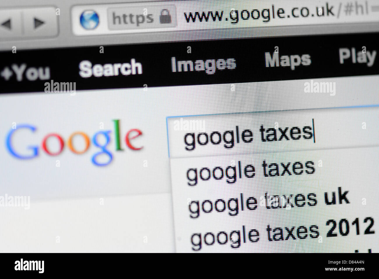 Google search for taxes. - Stock Image