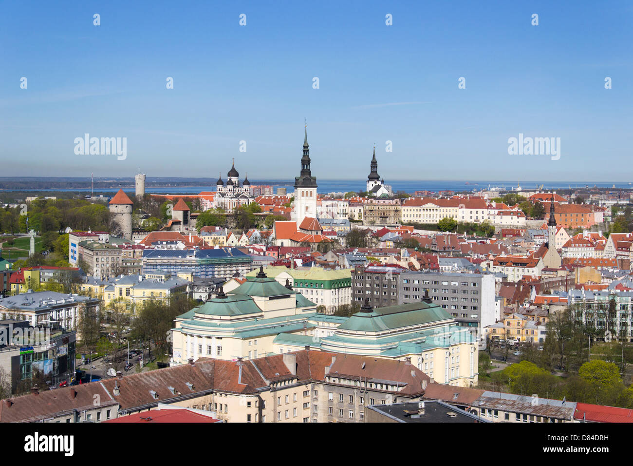 View on Tallinn Old town from top of Radisson Blu Hotel. - Stock Image