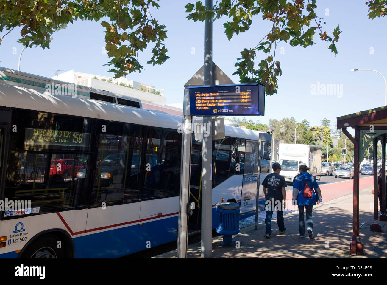 sydney trial of real time bus travel information - Stock Image