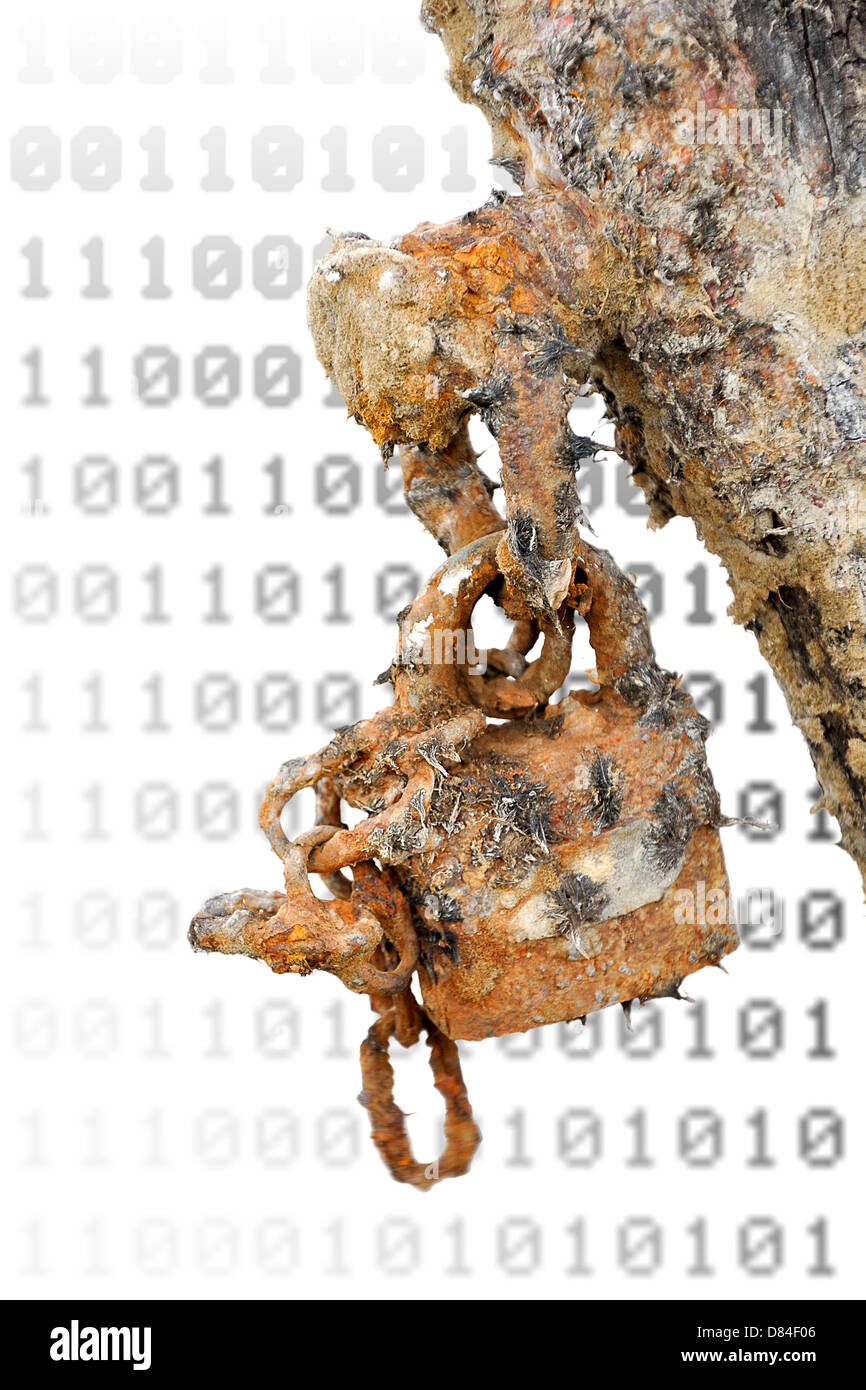 Rusted padlock against blurred surface - outdated security and antivirus software metaphor - Stock Image