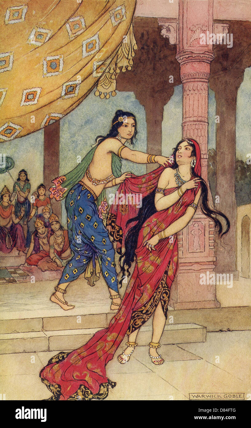 Dushasana drags her away by the hair and then tries to disrobe her, but her sari keeps unfolding and unwrapping. - Stock Image