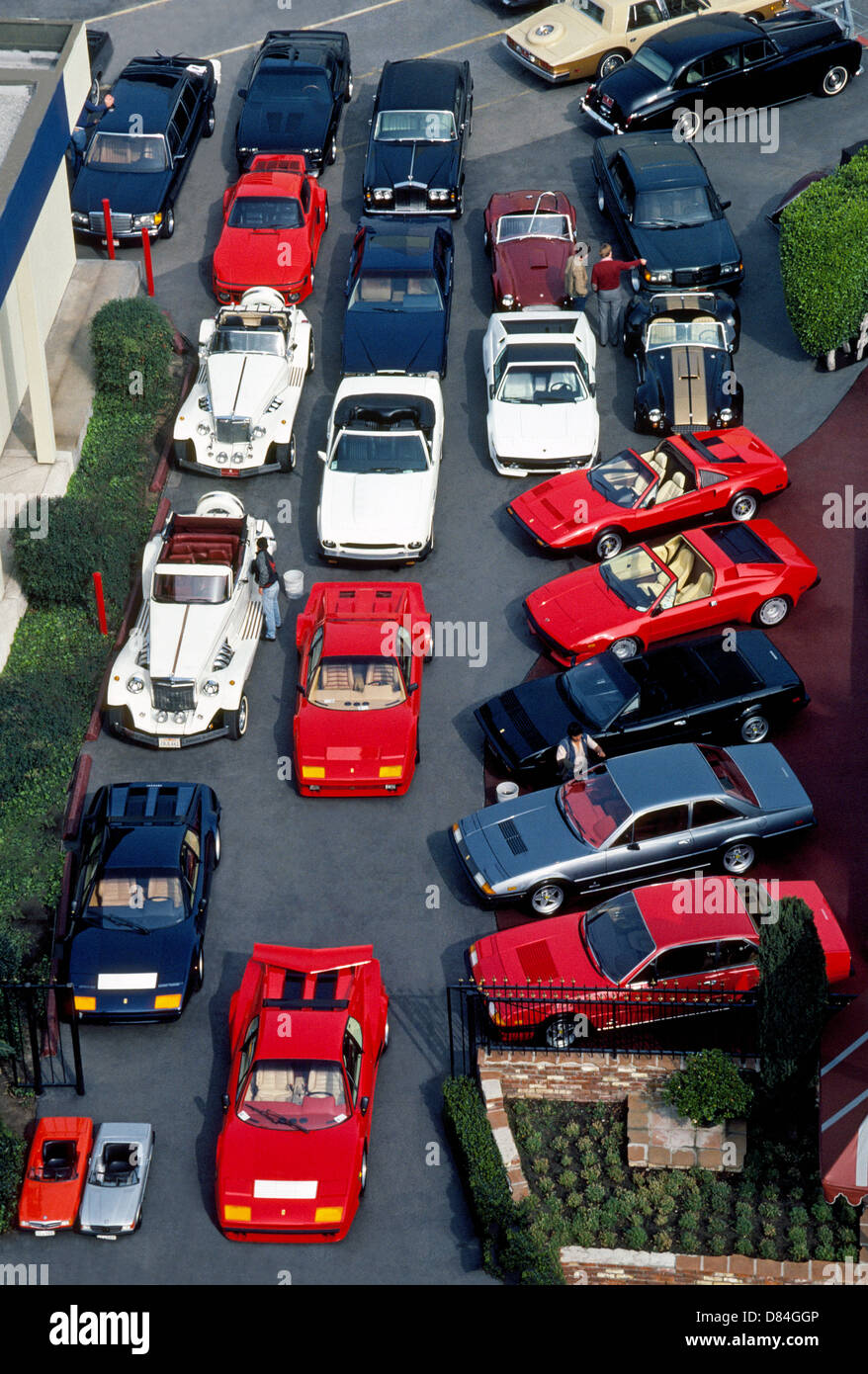 An overhead view of exotic and expensive vehicles for sale at an ...