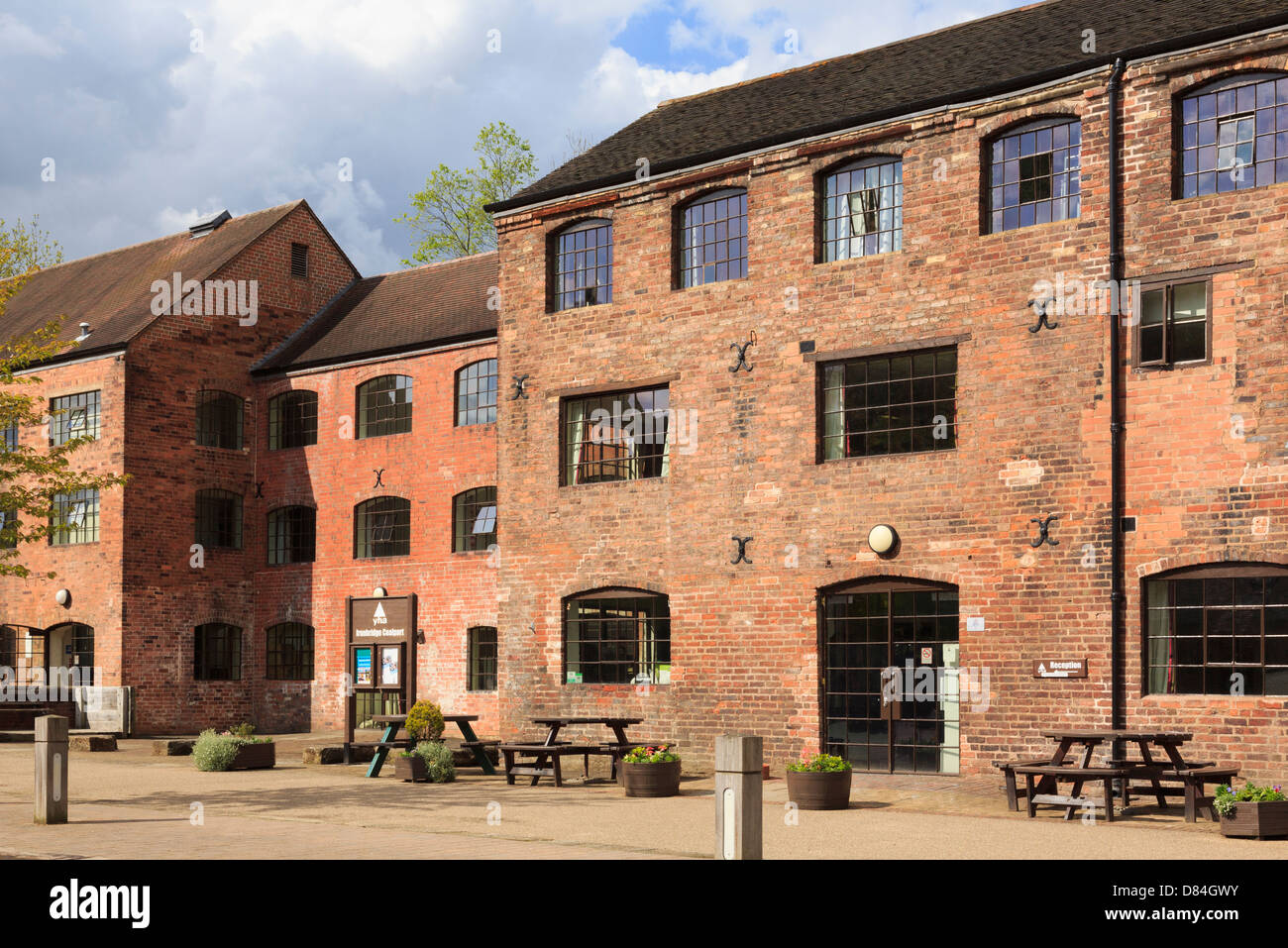 Coalport Youth Hostel in converted red brick industrial buildings of old china works in Ironbridge Gorge Shropshire - Stock Image