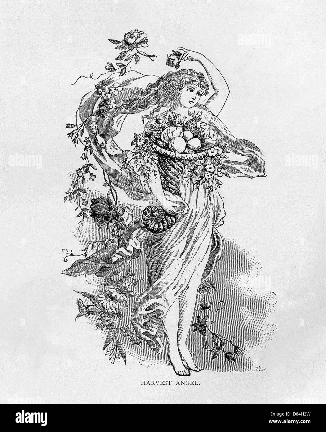 This 1891 image depicts Harvest Angel. Supported by her right hand and arm is a cornucopia, overflowing with food - Stock Image