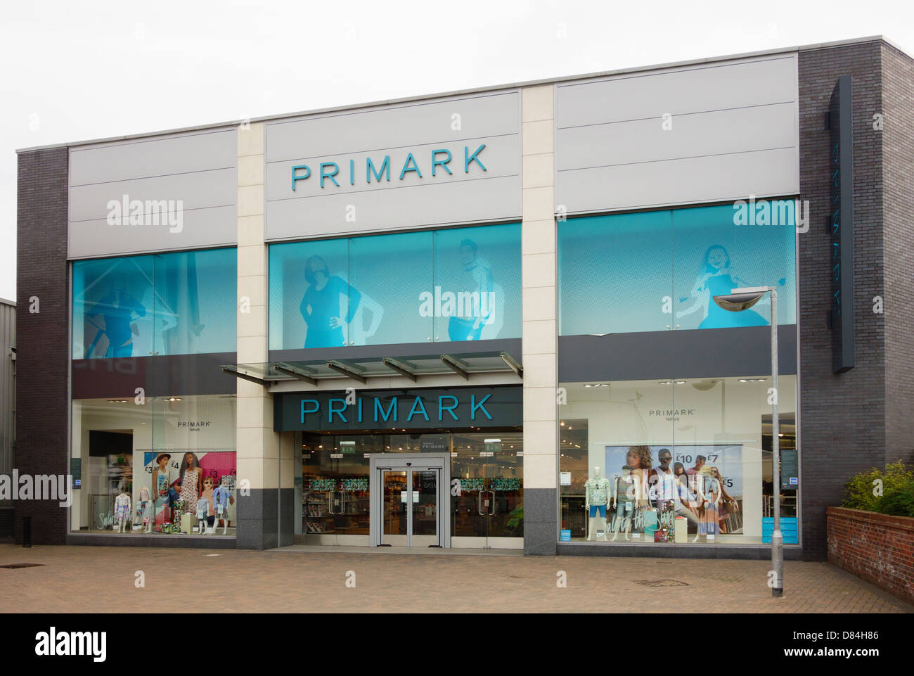 Primark store shop front entrance in shopping centre. Telford, Shropshire, England, UK, Britain - Stock Image