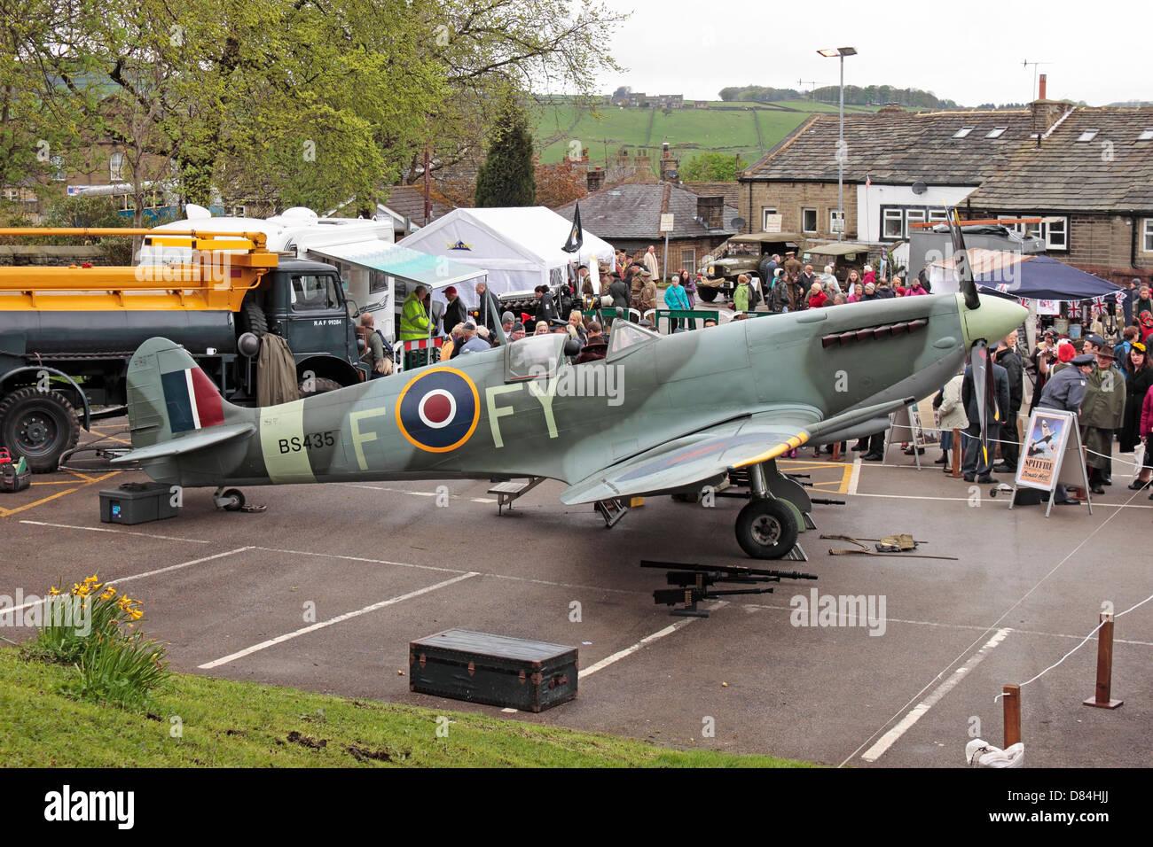 Haworth 40's Weekend Spitfire Display - Stock Image
