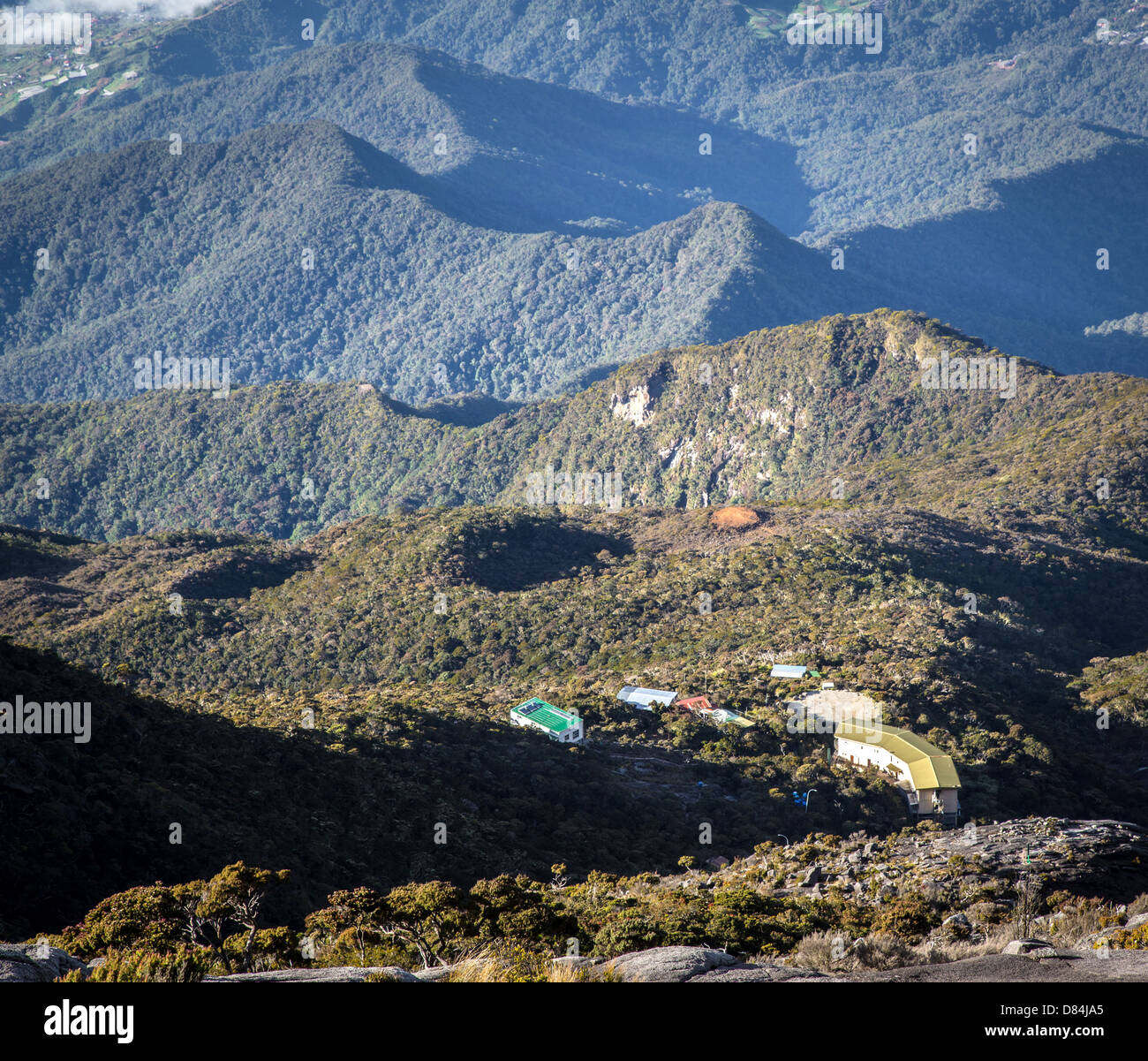 Laban Rata hostel seen from the lower summit area of Mount Kinabalu in Sabah Borneo - Stock Image