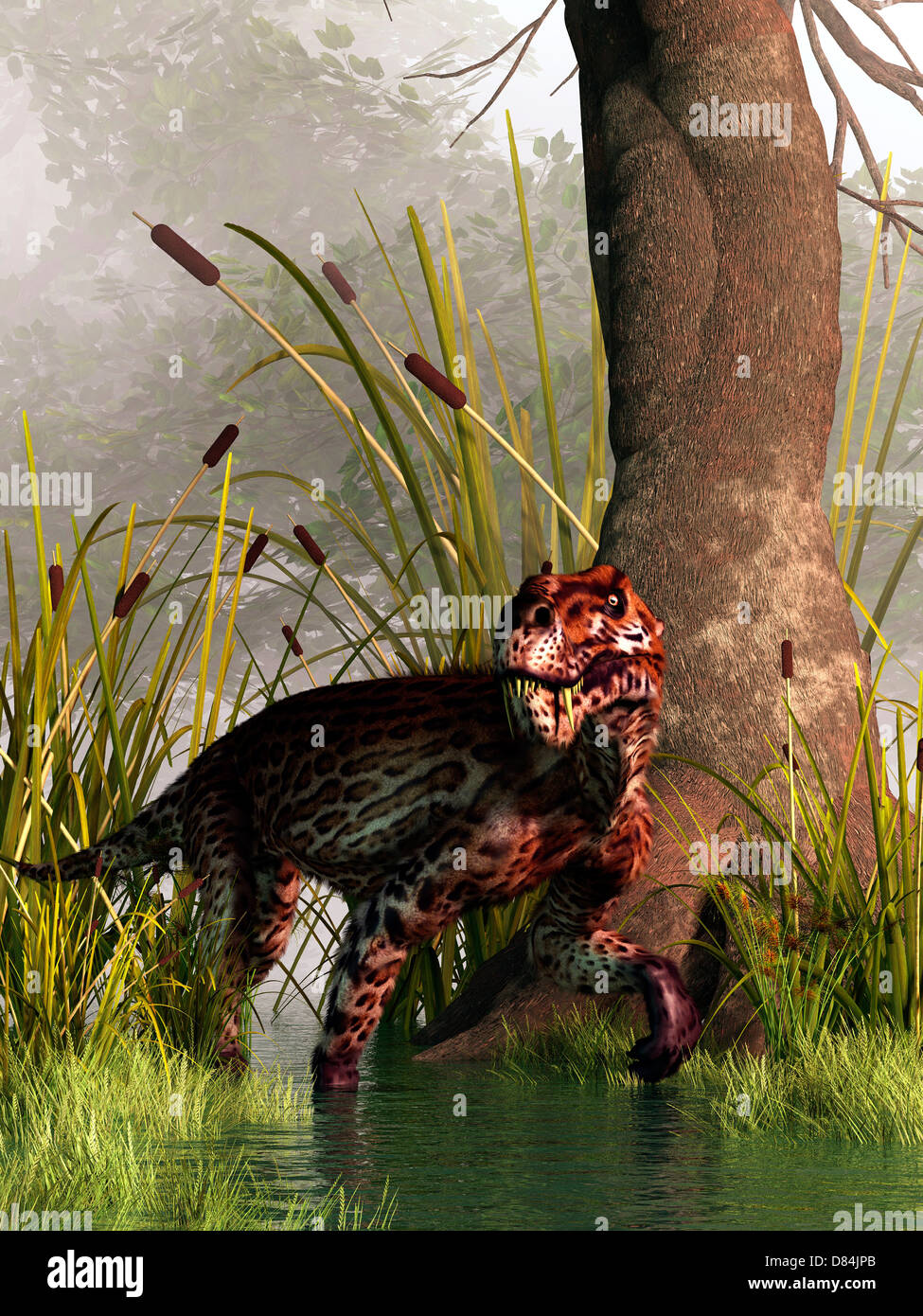 A Lycaenops stalking through a shallow prehistoric wetland. - Stock Image