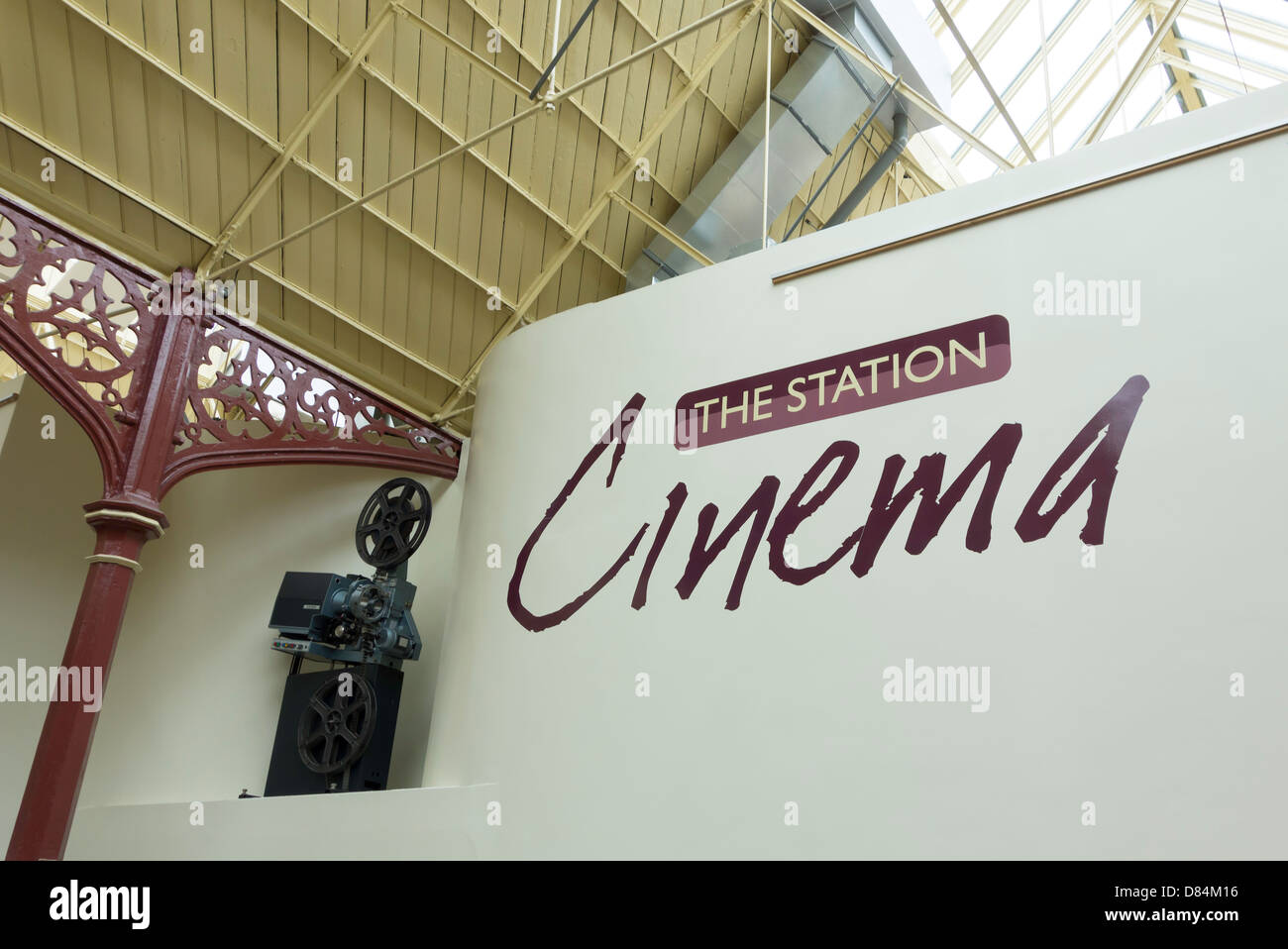 Cinema film projector at The Station a former railway train station at Richmond Yorkshire now an arts centre cinema - Stock Image
