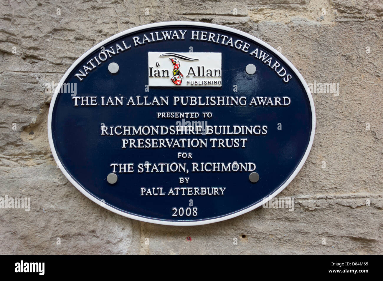 A National Railway Heritage Awards plaque at The Station in Richmond presented to Richmondshire Buildings Preservation Stock Photo