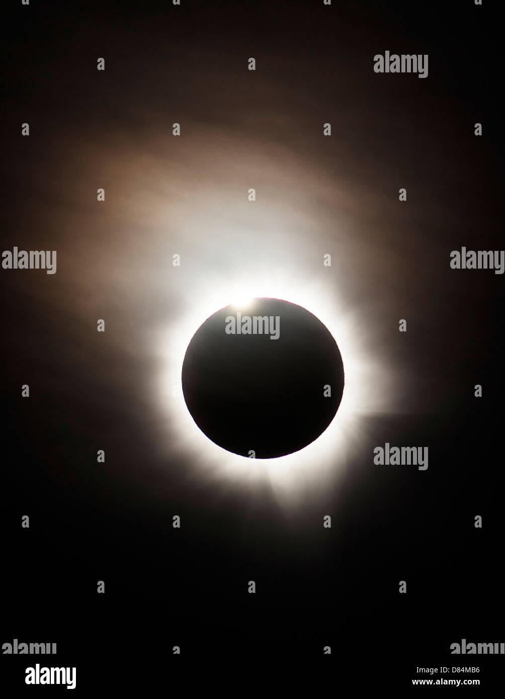 Solar Eclipse with diamond ring effect, Queensland, Australia. - Stock Image