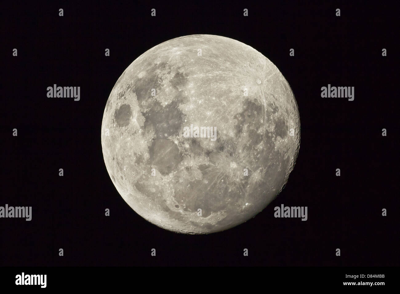 The moon as seen from the Southern Hemisphere, Melbourne, Australia. Stock Photo