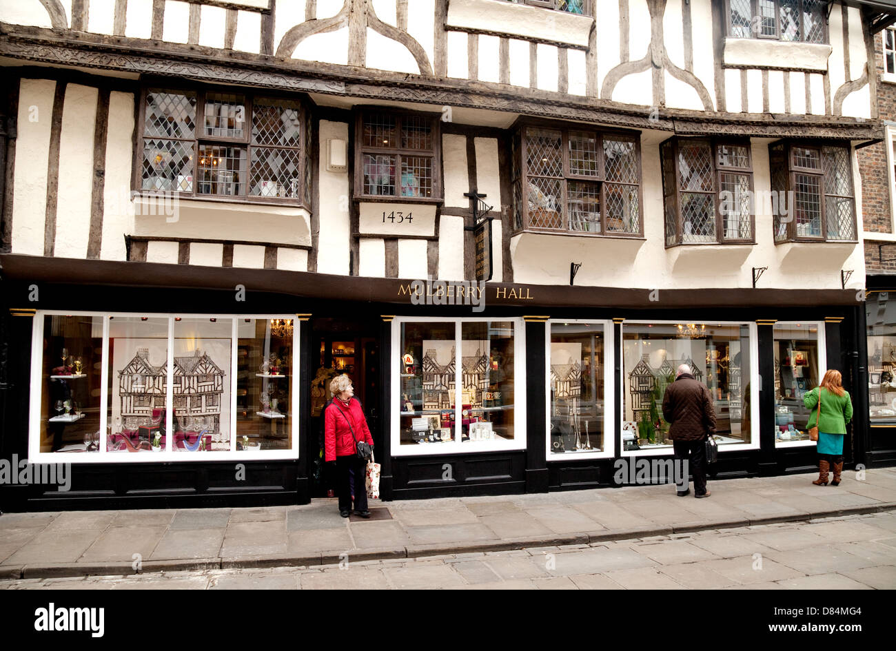 The 15th century Mulberry Hall tudor medieval building, Stonegate, York Yorkshire UK - Stock Image