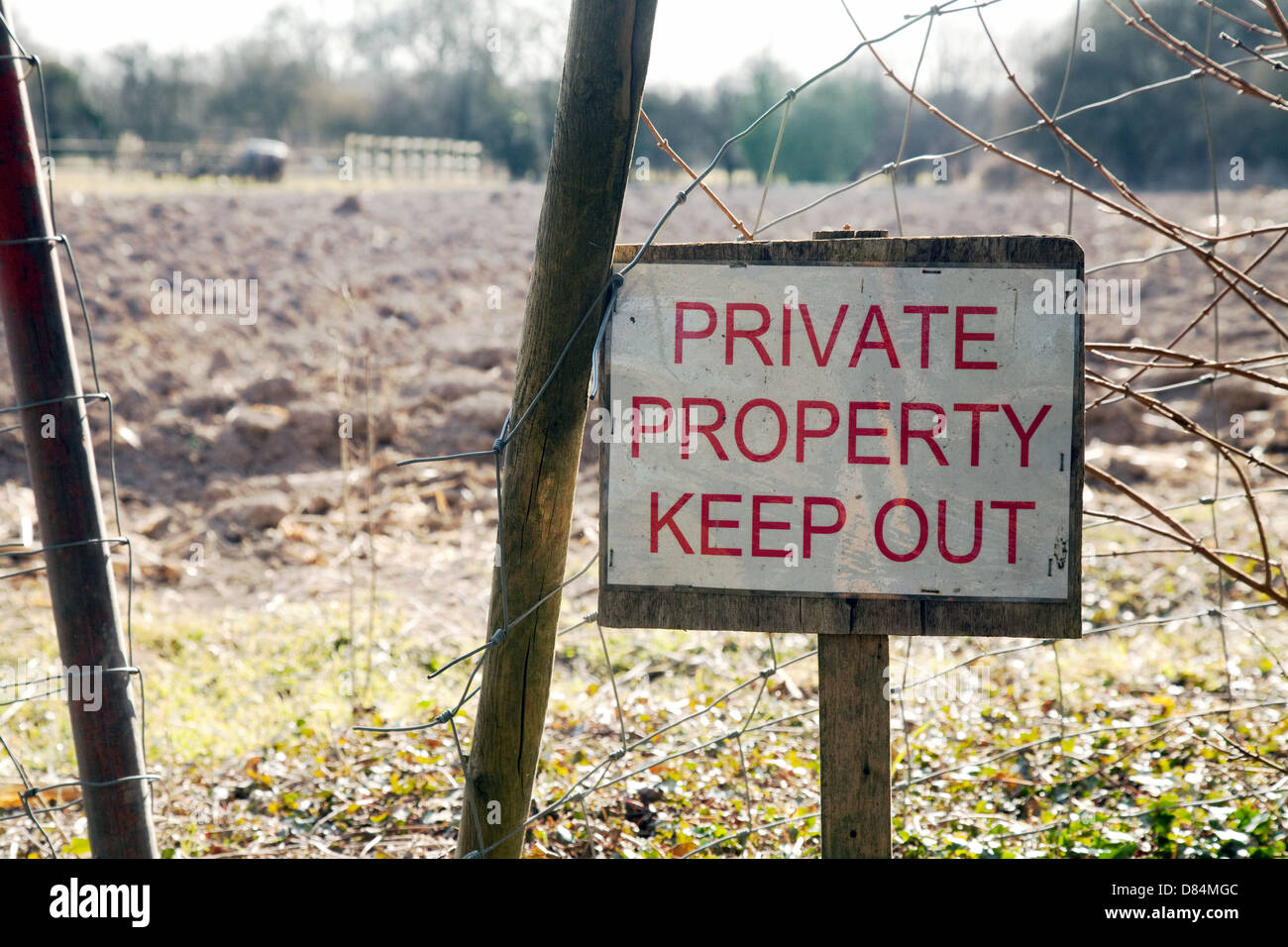 A Private Property Keep Out sign in Cambridgeshire countryside, UK - Stock Image