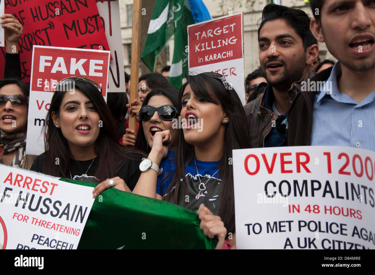 London, UK. 19th May, 2013. Pakistanis protest against electoral frsaud and  the