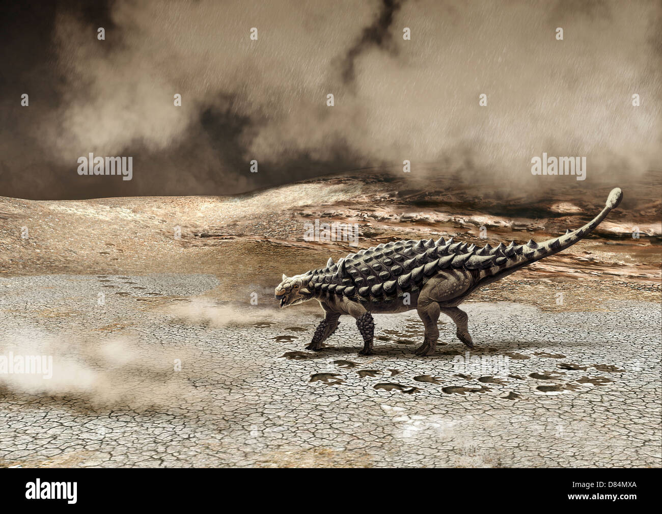 A Saichania chulsanensis dinosaur is caught in a sandstorm. - Stock Image