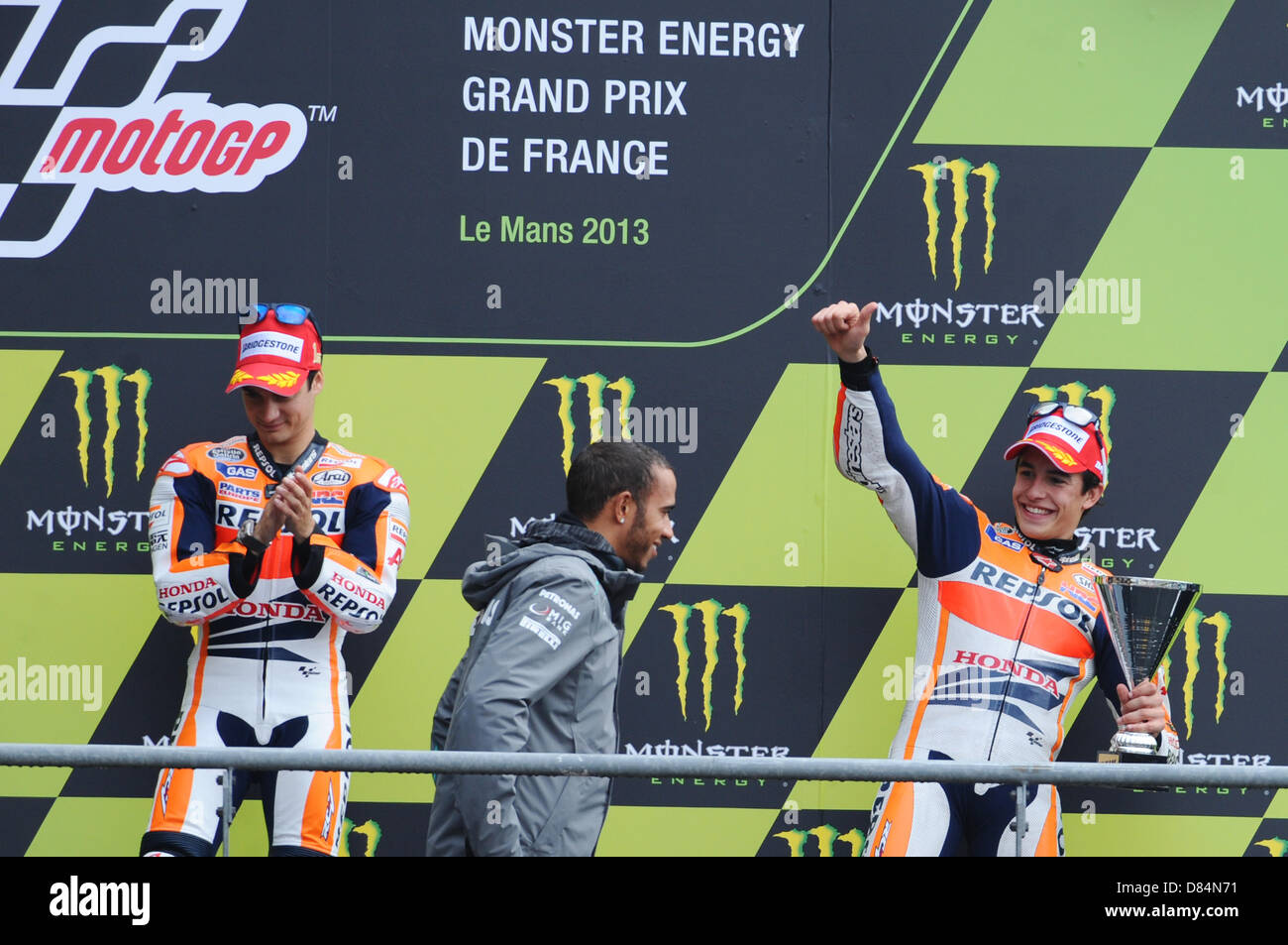 Le Mans, France. 19th May, 2013. Marc Marquez 3th Place of the Moto GP World Championship from the Le Mans racing - Stock Image