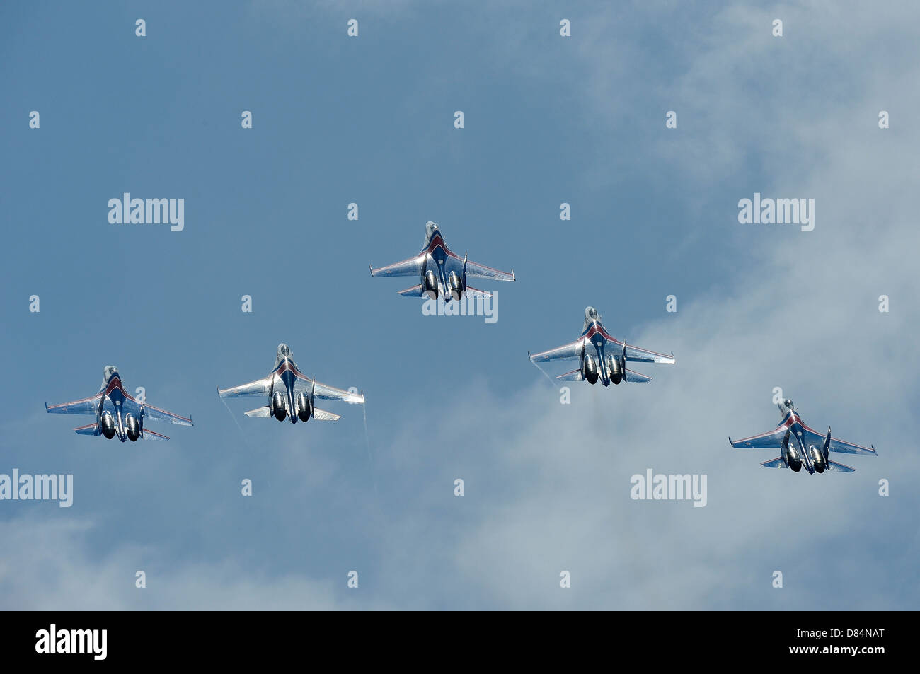 March 26, 2013 - Sukhoi Su-27 Flanker aircraft of the Russian Knights aerobatic team fly over Langkawi, Malaysia. - Stock Image